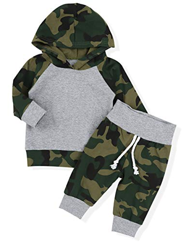 Infant Newborn Baby Boy Girls Camouflage Clothes Hooded T-Shirt Tops Outfits + Pants Sets(18-24Months) ()