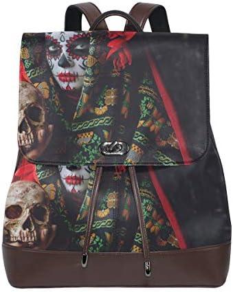 YCHY Custom Made Backpack Calavera Catrina Holding Skull Over Dark bag