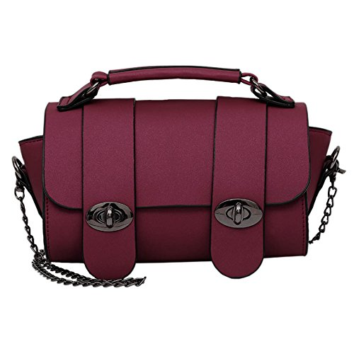 Classic Women Mini Small Metal Chain Bag with Top Handle Satchel Handbag Leather Crossbody Bag of Turn Lock Shoulder Strap (Wine Red, One Size) (Classic Mini Satchel)