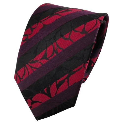 TigerTie satin cravate en soie rouge bordeaux noir rayé - cravate en soie