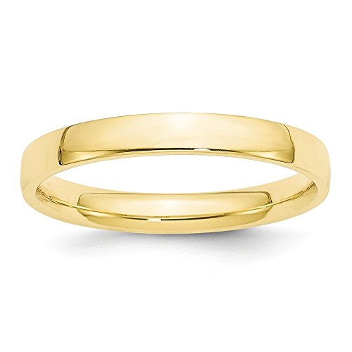 JewelrySuperMart Collection 10k Yellow Gold 3mm Plain Classic Comfort-fit Wedding Band - Size 13