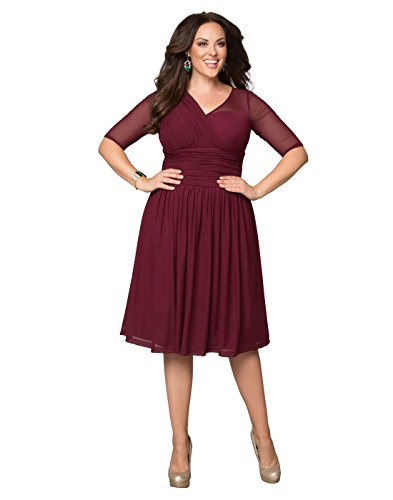 Kiyonna Women's Plus Size Modern Mesh Dress 5X Cranberry Crush