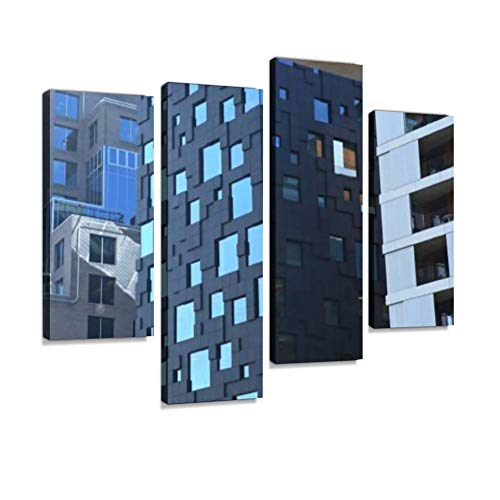 Oslo, Norway - Close up View of Modern Architecture in Bjorvika District. Canvas Wall Art Hanging Paintings Modern Artwork Abstract Picture Prints Home Decoration Gift Unique Designed Framed 4 Panel