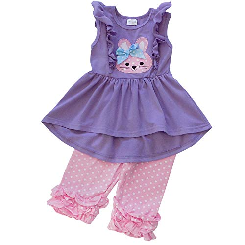 So Sydney Girls & Toddler Easter Tunic Tank Top Ruffle Pants Boutique Outfit (5 (L), Bunny Purple Hi -