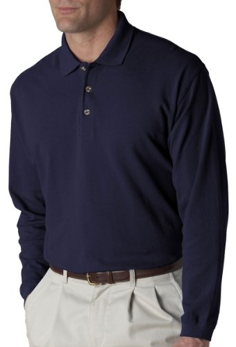 UltraClub Mens Long-Sleeve Classic Pique Polo (8532) -NAVY - Adult Pique Classic Polo