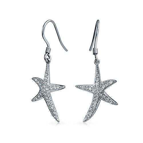 Nautical Ocean Tropical Beach Cubic Zirconia Pave CZ Starfish Drop Dangle Earrings For Women 925 Sterling Silver