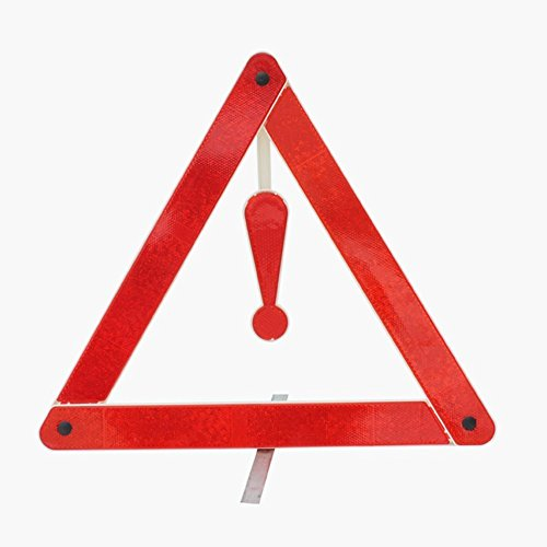 Maroon Sign Parking (BARGAIN HOUSE Safe Parking Sign Triangle Stop Display Plate Triangle Stop Plate Triangle Stop Reflection Plate Highway Roadside Reflection Emergency Safety Triangle Marker Silver Tone Red)