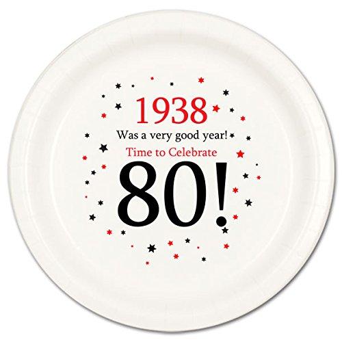 1938 - 80TH BIRTHDAY DESSERT PLATE (8/PKG) by Partypro