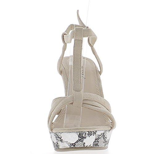 Sandales compensées nude beiges aspect daim à talon de 11 cm avec fines brides et plateforme