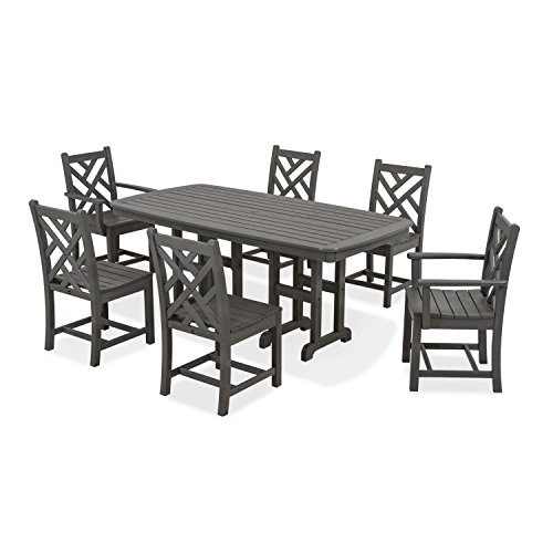 POLYWOOD PWS121-1-GY Chippendale 7-Piece Dining Set, Slate Grey