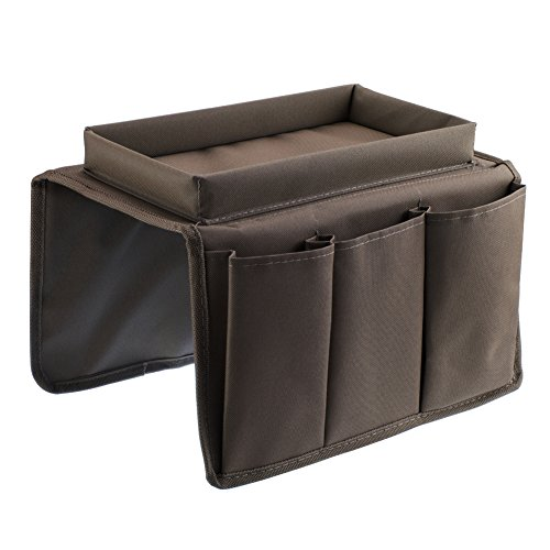 Price comparison product image ACTLATI Sofa TV Remote Control Handset Holder Organiser Caddy For Arm Rests With Cup Holder Tray - Fits Over Chairs, Sofas Armchairs With Wide Arm Pockets Coffee