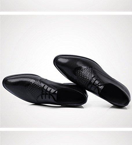 GRRONG Mode Pour Hommes Chaussures Vent Britannique Printemps Et Chaussures De Mariage Automne Affaires Tissées Chaussures Respirantes Derby Black HuTJ7N7B
