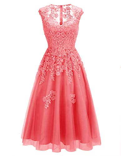 Short Dresses Embroidery Gowns Party Lace Cocktail Tulle Bridesmaid Coral ALAGIRLS Prom Womens xU6qqR