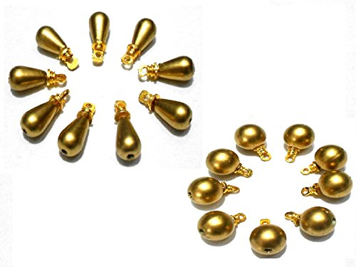 AM Gold Pearl Round & Drop Beads Combo With Hangings For Jewellery/Earring/Necklace/Anklet Craft Making