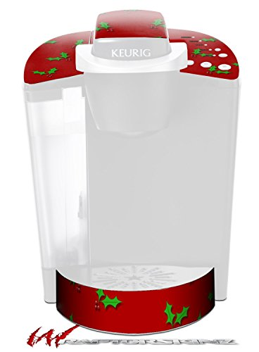 holly-leaves-on-red-decal-style-vinyl-skin-fits-keurig-k40-elite-coffee-makers-keurig-not-included