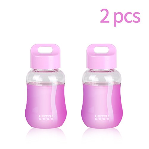 UPSTYLE Mini Wide Mouth Plastic Water Bottle-Sports Water Bottle-Made for Running,Gym,Yoga,Outdoors and Camping,180ml (Transparent Purple) by UPSTYLE