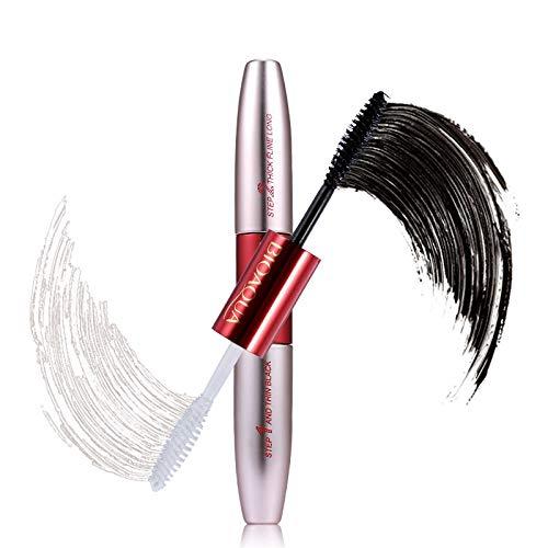 - Double Ended White+Black 3D Fiber Mascara Waterproof Nourish Makeup Lash Curling Eyelash Make Up Double Ended