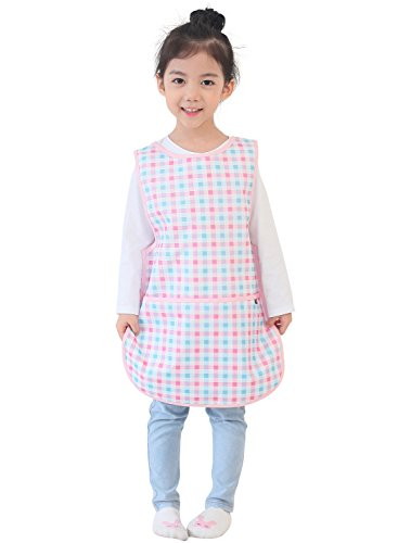 Plie Little Kids' Waterproof Sleeveless Art Smock Apron Medium Pink (Check Smock)