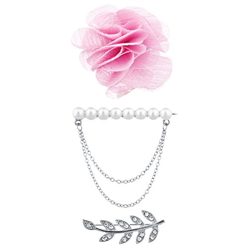 (Lux Accessories Silver Tone Faux Pearl Leaves Flower Novelty Brooch Pin Set 3PC)