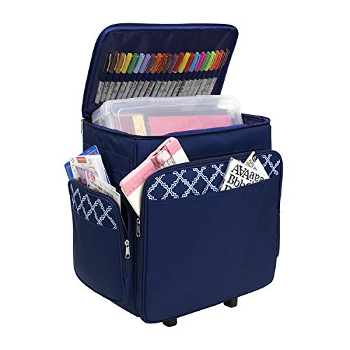 - Everything Mary Blue & White Rolling Scrapbook Storage Tote - Scrapbooking Storage Case for Rings, Paper, Binder, Crafts, Beads, Paper, Scissors - Telescoping Handle with Dual Wheels - Craft Case