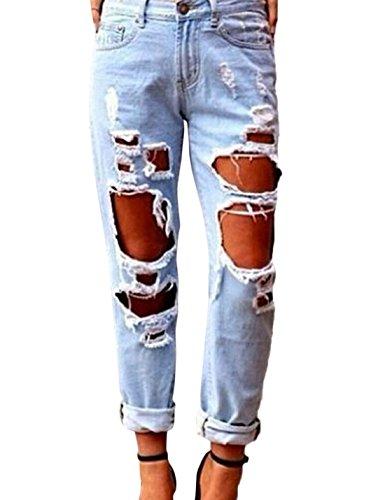 Claires Denim Dchirs Style Copain Bleues Femmes De Pantalon Jeans Pantalons Les en ZnaXgxP