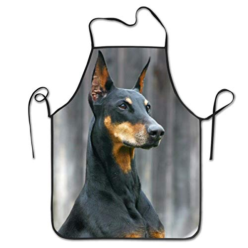 NiYoung Polyester Apron Bib Aprons Extra Long Ties Women Men Chef Lady's Apron for Painting Grill, Machine Washablen/Waterproof - German Doberman Pinscher