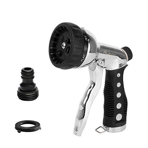 M PLUS Garden Hose Nozzle Spray Nozzle Hand Sprayer Heavy Duty Metal Pistol Grip Trigger Quick Connector Adjustable Pattern for Plant Watering Car Washing Pets Showering