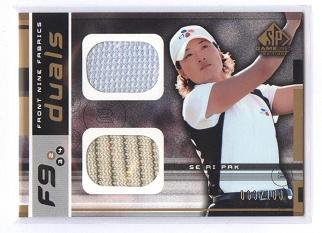 Dual Pak (Se Ri Pak Tournament Worn Dual Shirt Swatch 2003 Upper Deck SP Game Used Golf Card #F9-SP Rare #063/100 Made LPGA)