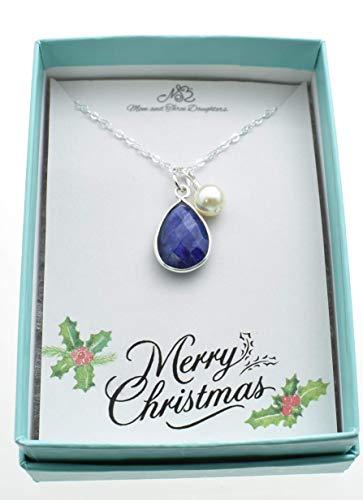 (Sapphire Necklace bezel set in sterling silver on a 20