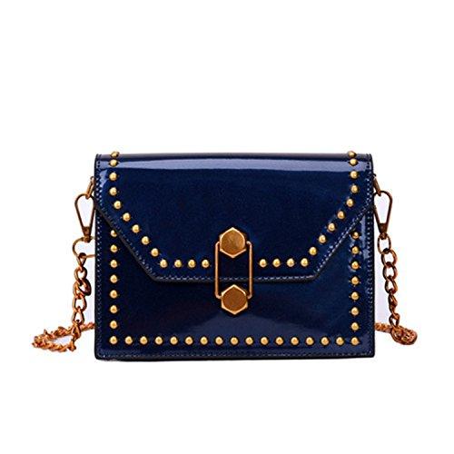 New Design Patent Leather Women Small Flap Bags Fashion Chains Shoulder Bag For Female Rivet Messenger Bag 1985-3