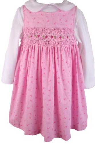 Fall Winter Rare Editions Girls Pink Floral Print Smocked Jumper Dress-24 Months