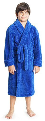 Boys and Girls Plush Shawl Robe Super Soft Fleece Bathrobe Made in Turkey Large, Blue