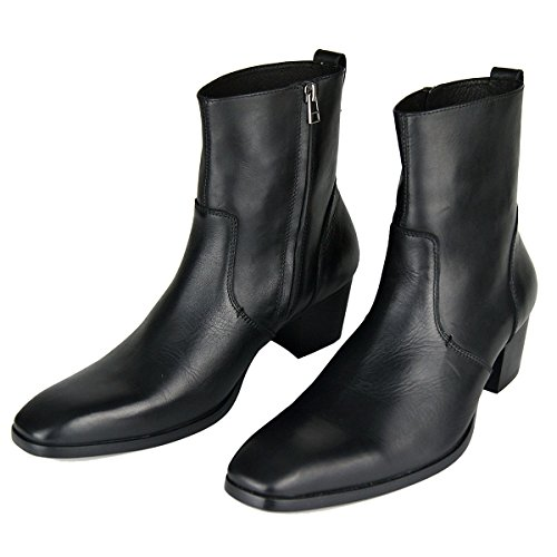 Boots Shoes for Designer Boot up ZONE OTTO Zipper Chukka Dress Leather Casual Heel Black Men 8qaWTCw