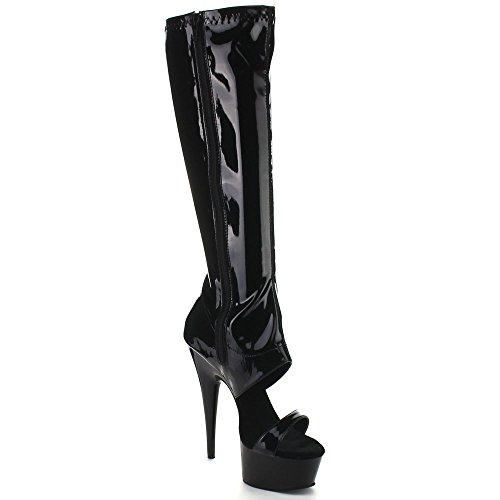 Pleaser DELIGHT-600-47 Blk Str Pat/Blk Size UK 7 EU 40