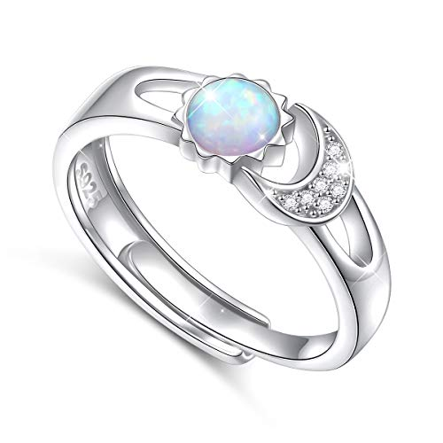 Flyow Created Opal Ring Sterling Silver Sun Moon Adjustable Opal Rings for Women Size 7 (Ring Opal Mens Fire)