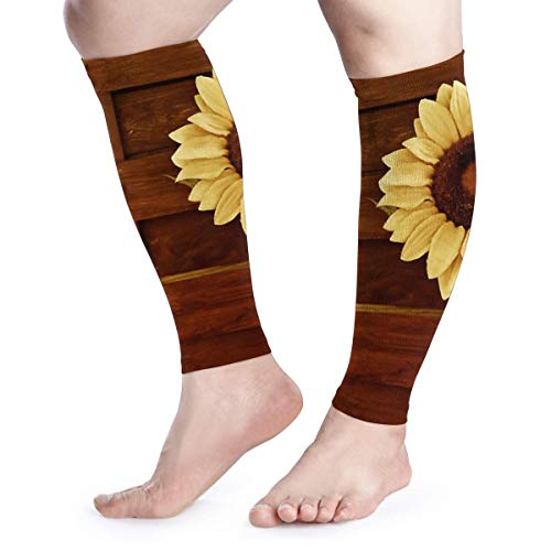 (Sunflower And Wood Graduated Calf Compression Sleeves)