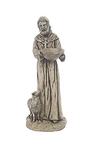 Yard Art Stone (Solid Rock Stoneworks St Francis with Lamb Yard Art Stone Statue 25in Tall Buff Color)