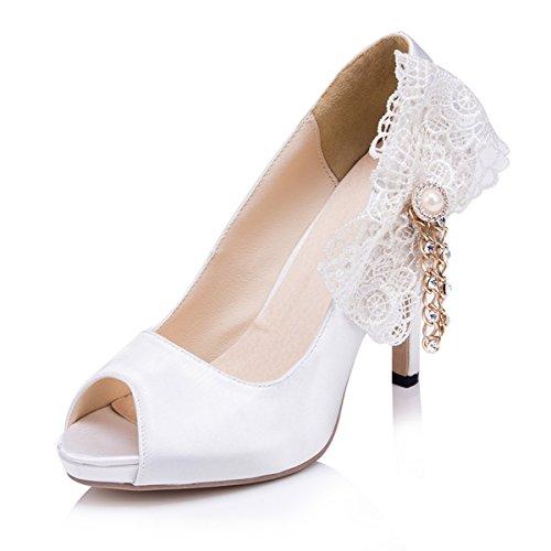 Kevin Fashion zms609Ladies Classic Floral satén novia boda fiesta noche Prom sandalias blanco