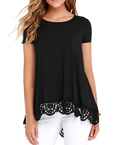 QIXING Women's Tops Short Sleeve Lace Trim O-Neck A-Line Tunic Blouse Black-L (Lace Black Blouse Top)