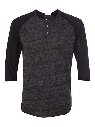 Alternative Men's Raglan 3/4 Sleeve Henley Shirt, True Black, Large from Alternative