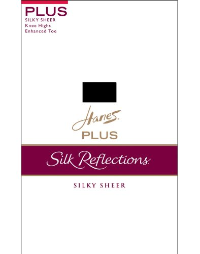 (Silk Reflection Silky Sheer Knee High Enhanced Toe (Pack of 2) Color:Barely Black)