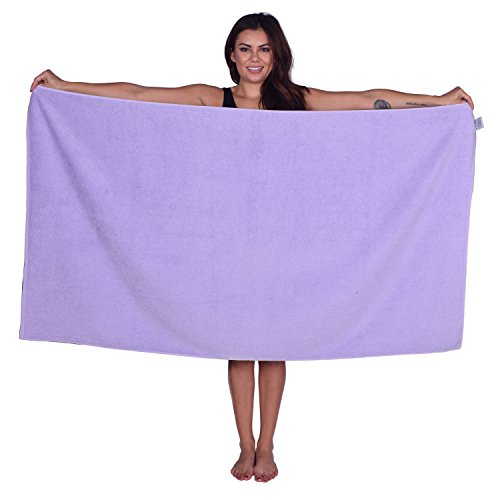 La Calla Turkish Beach Towel - Oversized 35 Inches by 60 Inches Bath Towels - 100% Terry Velour Cotton - Multipurpose Use for Beach Bath and Spa - Eco Friendly Material (Lavender, 1) ()