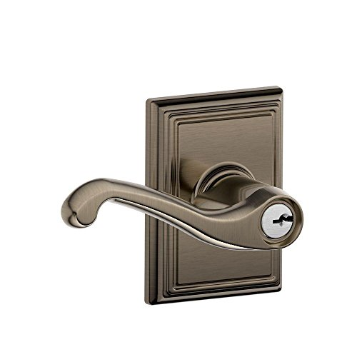 Schlage F51A FLA 620 ADD Flair Lever with Addison Trim Keyed Entry Lock, Antique (Pewter Classic Metal Lever)