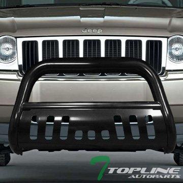 Topline Autopart Black HD Heavyduty Bull Bar Brush Push Front Bumper Grill Grille Guard w/ Skin Plate 08-10 Jeep Grand Cherokee