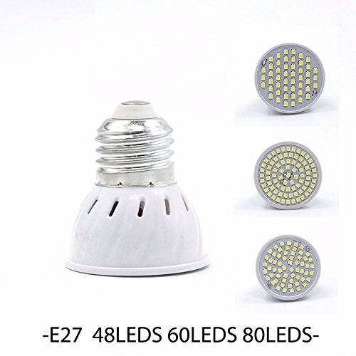 TIANLIANG04 Lampada Spotlight bombilla LED GU10 E27 E14 MR16 3W 5W 7W 220V 240V Bombillas Lámpara de LED SMD2835 48LED 60LED 80LED Bombilla Spot led27-60,E: ...