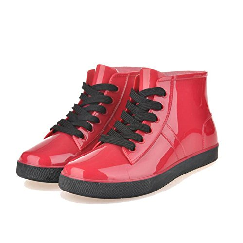 QQnvYUXUE Y&JAXIE Women lace rain boots/short boots/low to help water jacket shoes shoes red