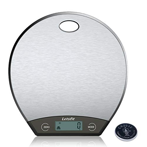 Letsfit Digital Kitchen Scale, Hanging Food Scales with LCD Display, Stainless Steel, 0.1oz (1g) to 11lbs (5000g), Battery Included