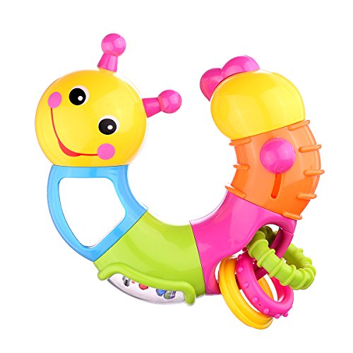 Coolecool Lovely Worm Rattle Toys Baby Toys 6 to 12 Months with Rotary Head, Holding Rings, Colorful Beads, Small Mirror and Twisting Game (Multicolored)