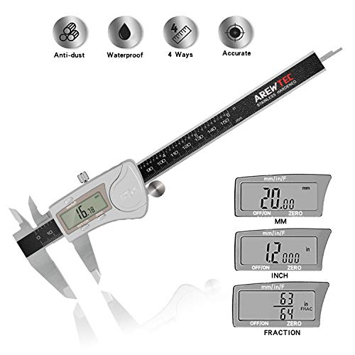 AREWTEC Electronic Digital Caliper IP54 Waterproof/Anti-dust 6 Inch/150mm, Inch/Fractions/Metric DCP15A Polished Frosted Stainless Steel Accurate Conversion Measurement Black LCD Vernier Caliper