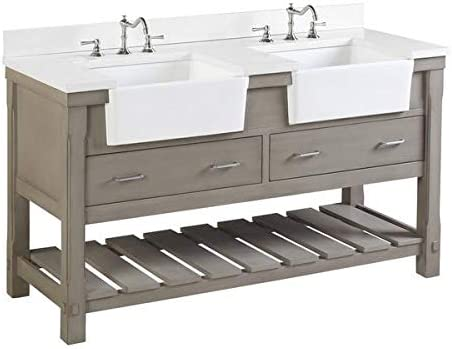 Amazon Com Charlotte 60 Inch Double Bathroom Vanity Quartz Weathered Gray Includes Weathered Gray Cabinet With Stunning Quartz Countertop And White Ceramic Farmhouse Apron Sinks Kitchen Dining